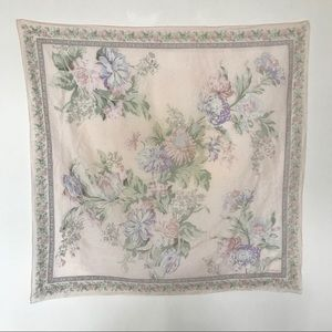 Vtg Liz Scarf Cream with Pastel Flowers and Border